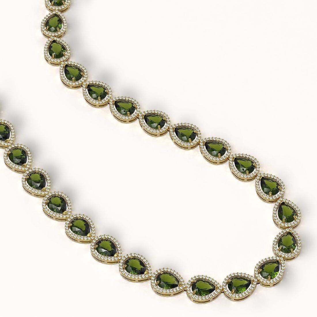 41.6 CTW Tourmaline & Diamond Halo Necklace 10K Yellow - 2