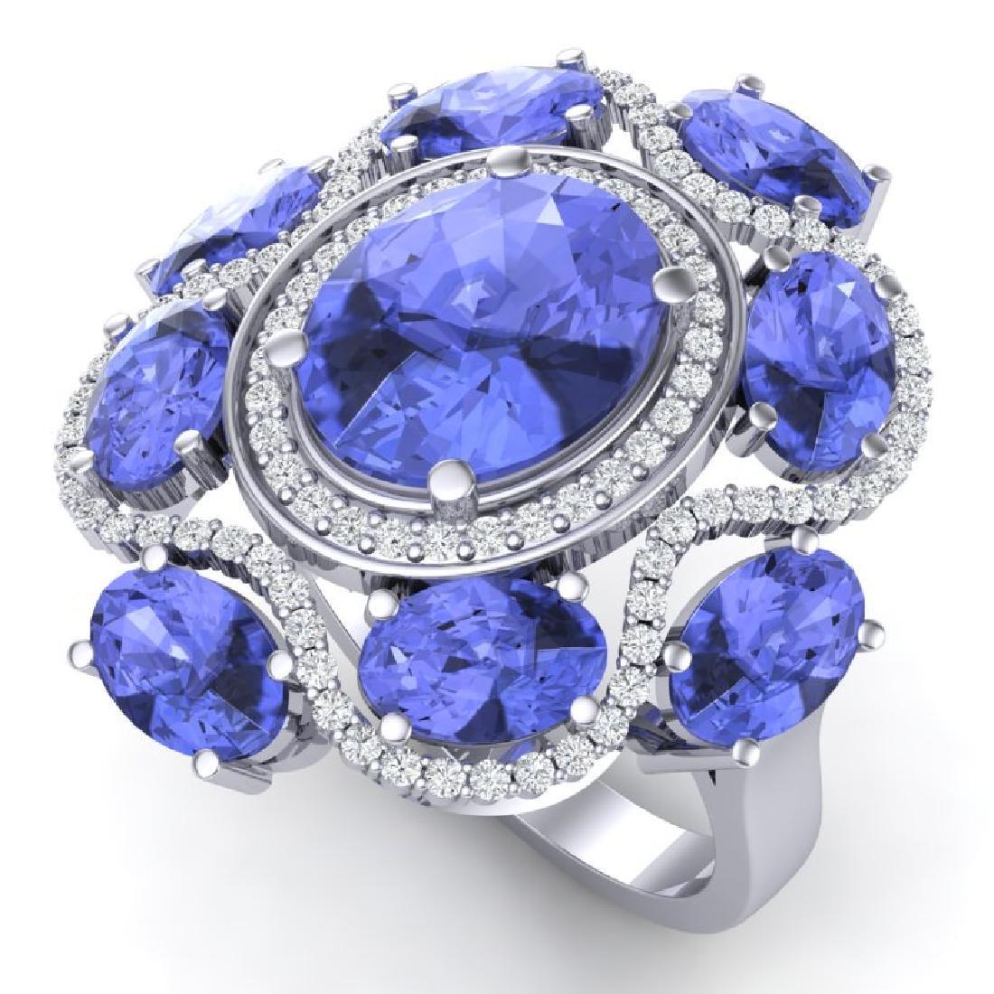 9.67 CTW Royalty Tanzanite & VS Diamond Ring 18K White
