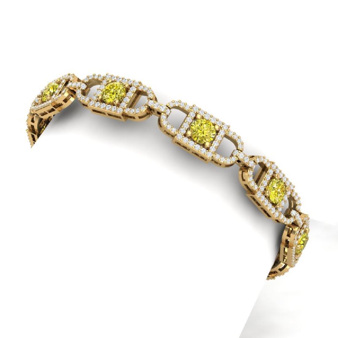 8 CTW SI/I Fancy Yellow And White Diamond Bracelet 18K