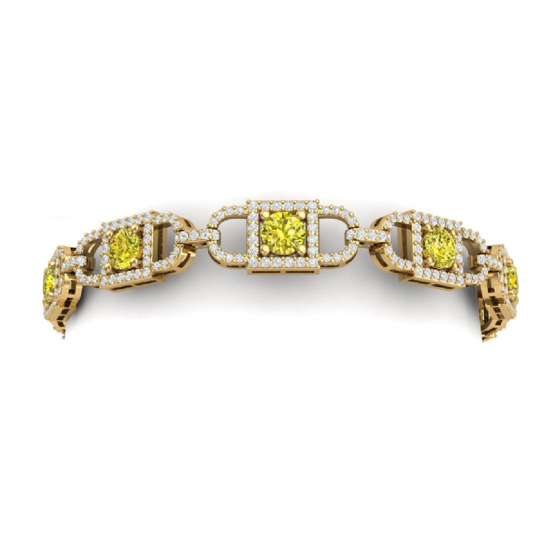 8 CTW SI/I Fancy Yellow And White Diamond Bracelet 18K - 2