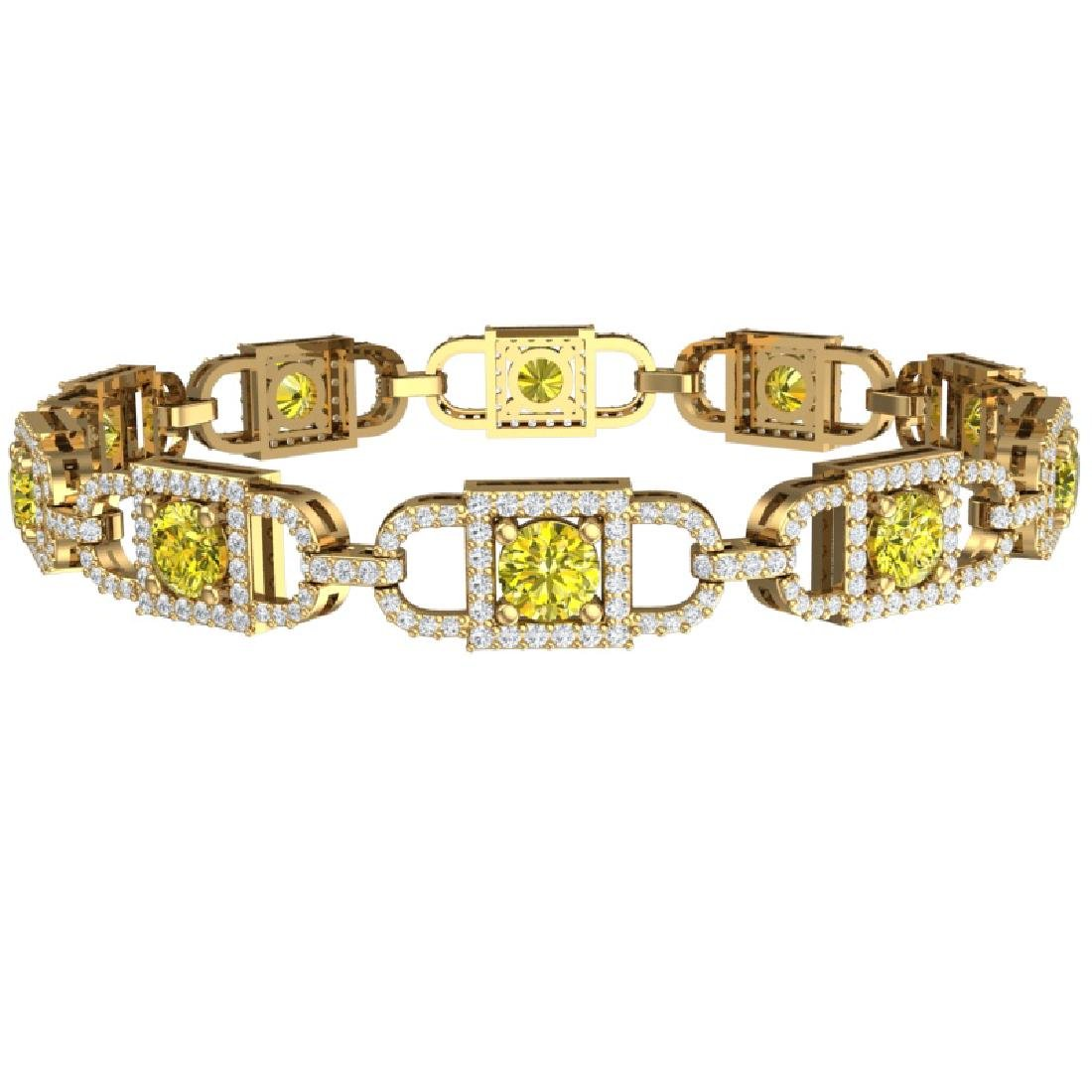 8 CTW SI/I Fancy Yellow And White Diamond Bracelet 18K - 3