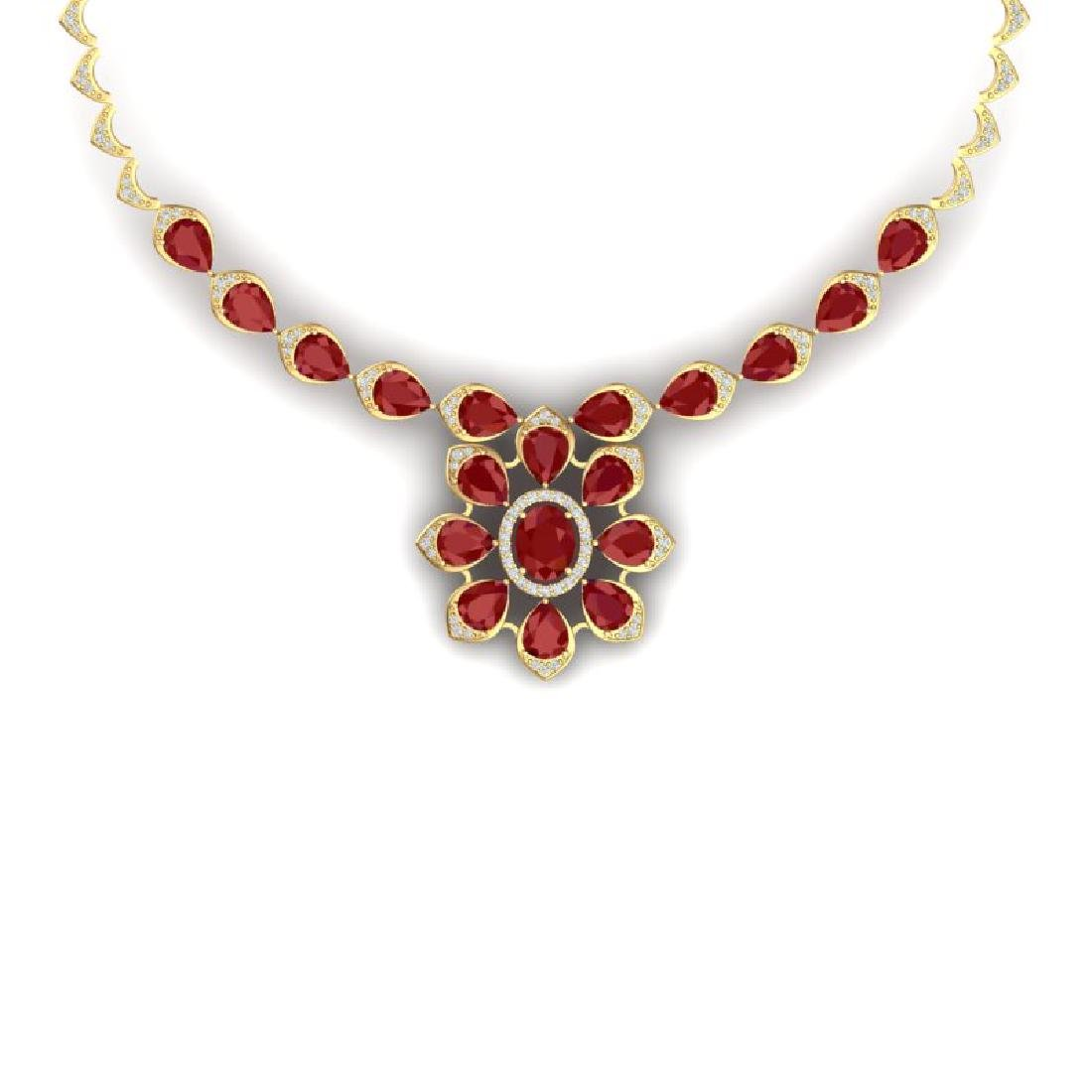 30.70 CTW Royalty Ruby & VS Diamond Necklace 18K Yellow