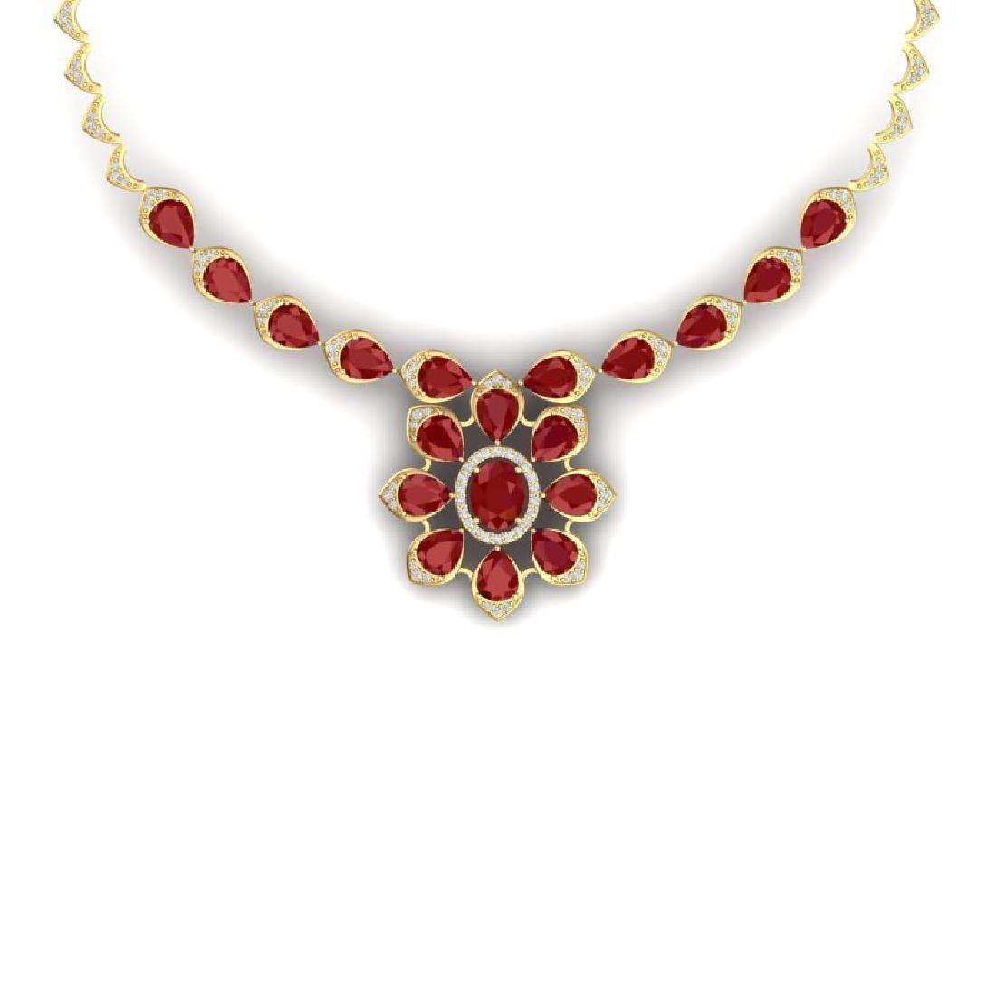 30.70 CTW Royalty Ruby & VS Diamond Necklace 18K Yellow