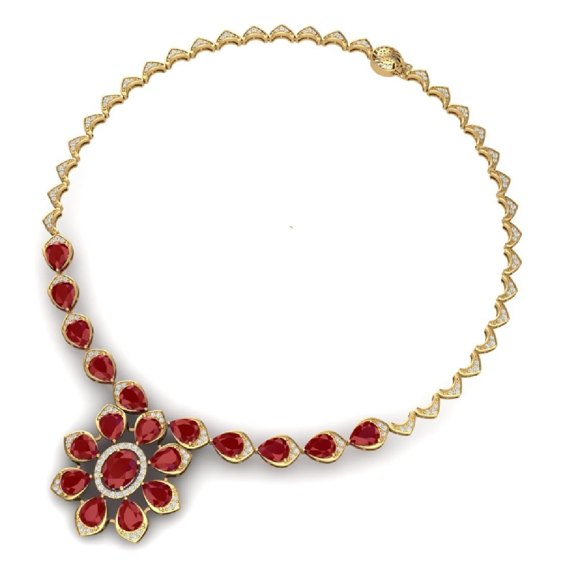 30.70 CTW Royalty Ruby & VS Diamond Necklace 18K Yellow - 2
