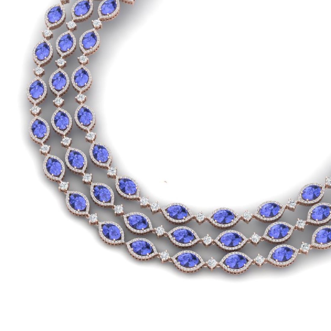 79.33 CTW Royalty Tanzanite & VS Diamond Necklace 18K