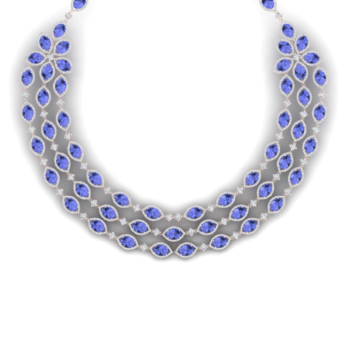 79.33 CTW Royalty Tanzanite & VS Diamond Necklace 18K - 2