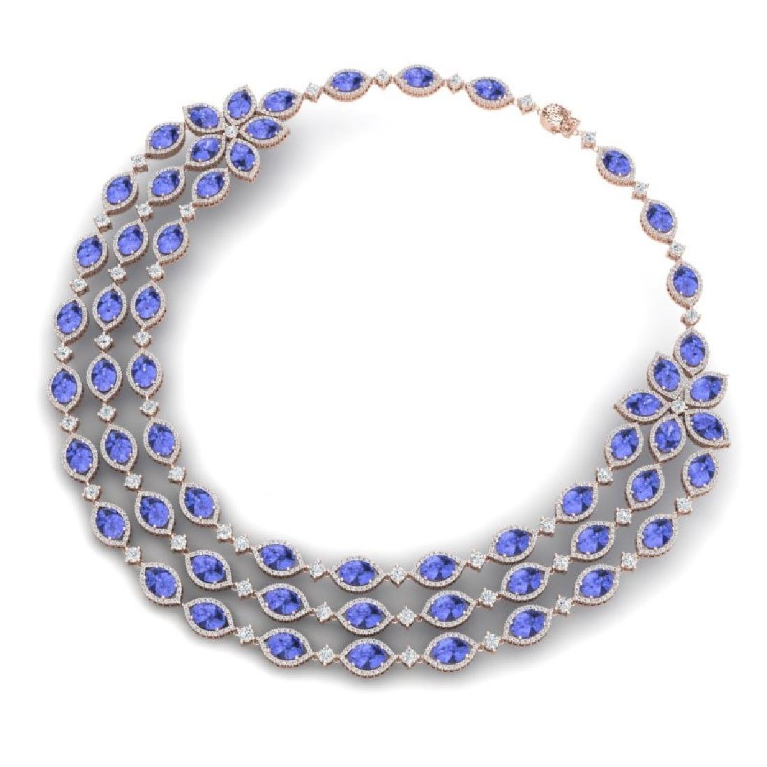 79.33 CTW Royalty Tanzanite & VS Diamond Necklace 18K - 3