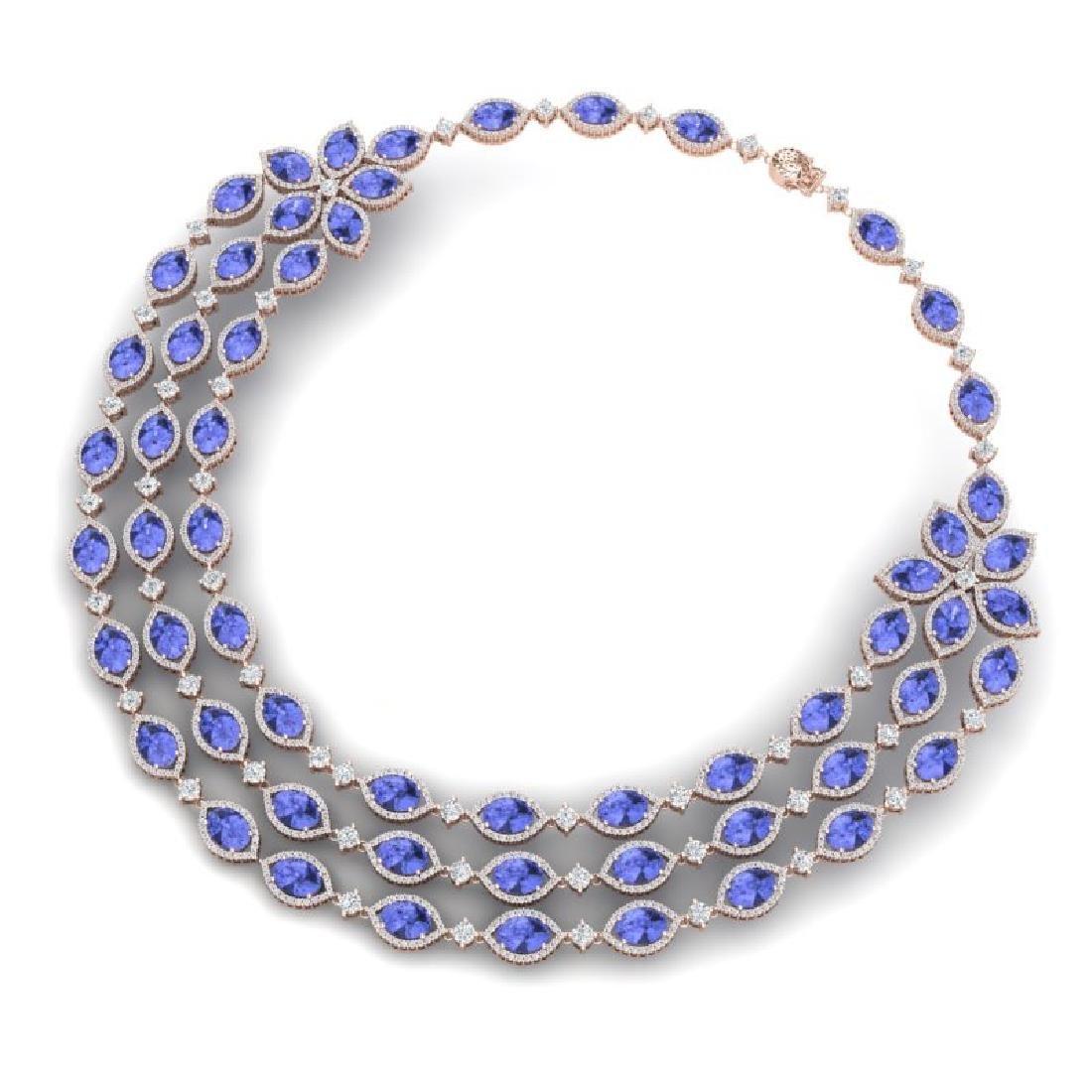 79.33 CTW Royalty Tanzanite & VS Diamond Necklace 18K - 3