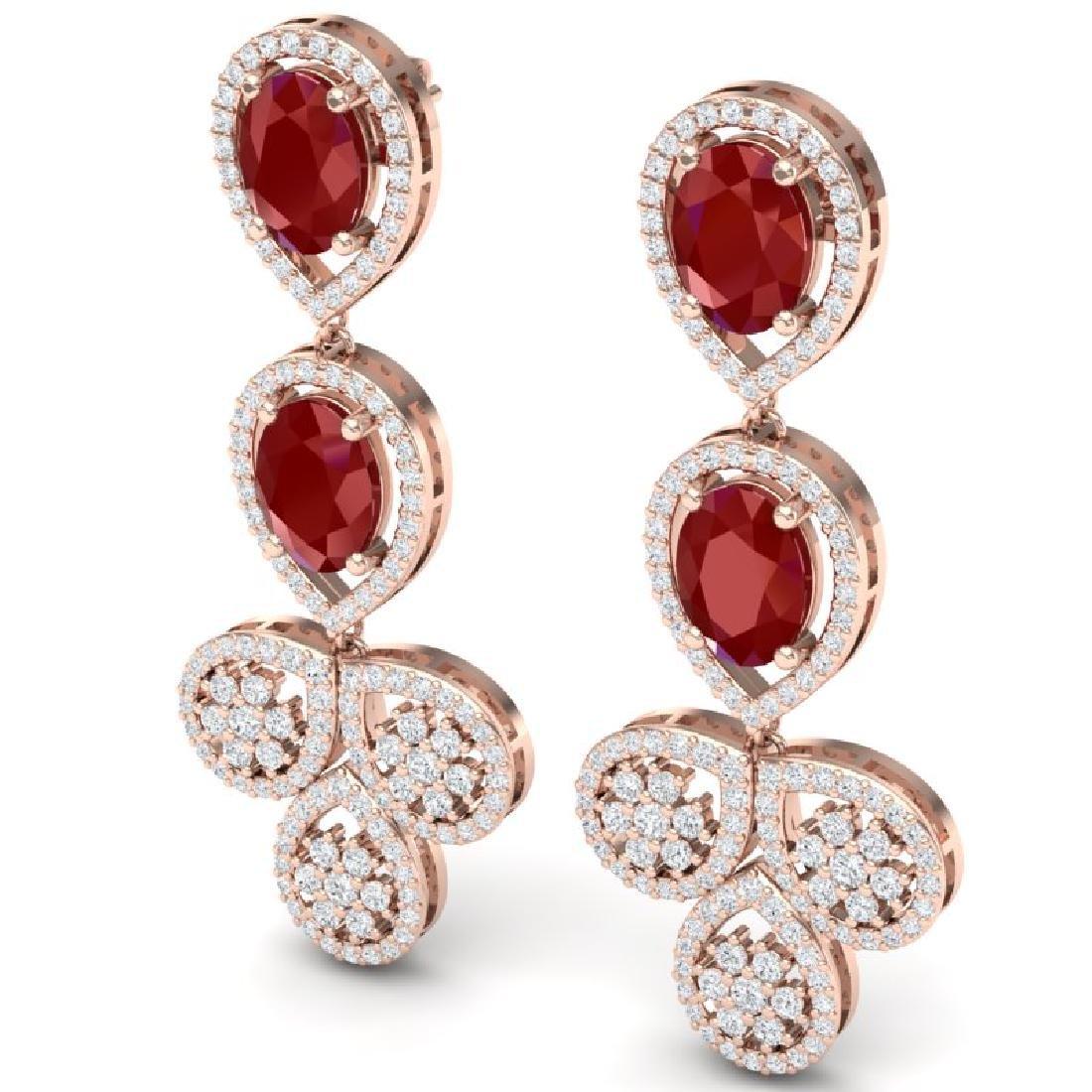 9.75 CTW Royalty Designer Ruby & VS Diamond Earrings - 2