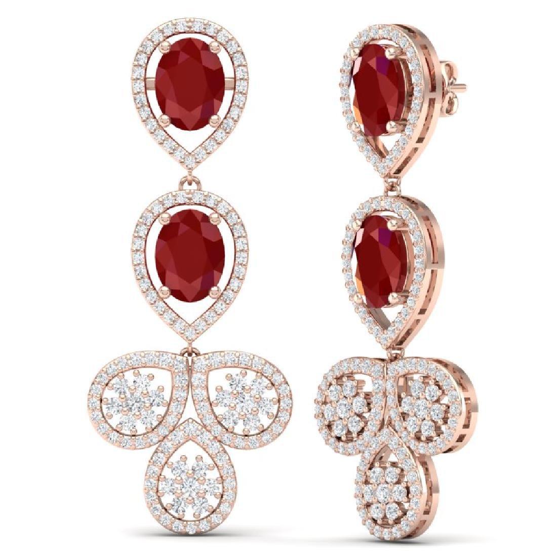 9.75 CTW Royalty Designer Ruby & VS Diamond Earrings - 3