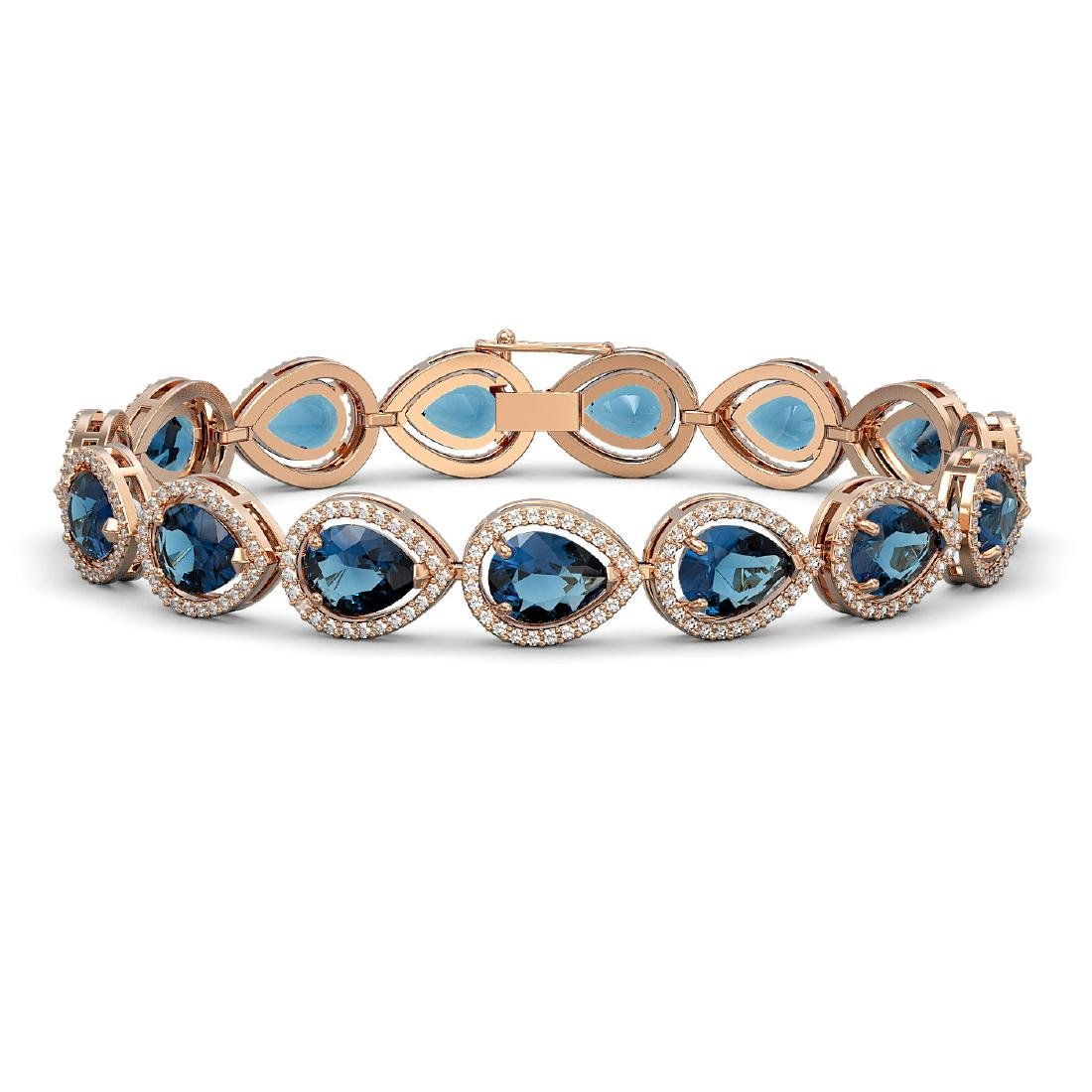 21.06 CTW London Topaz & Diamond Halo Bracelet 10K Rose