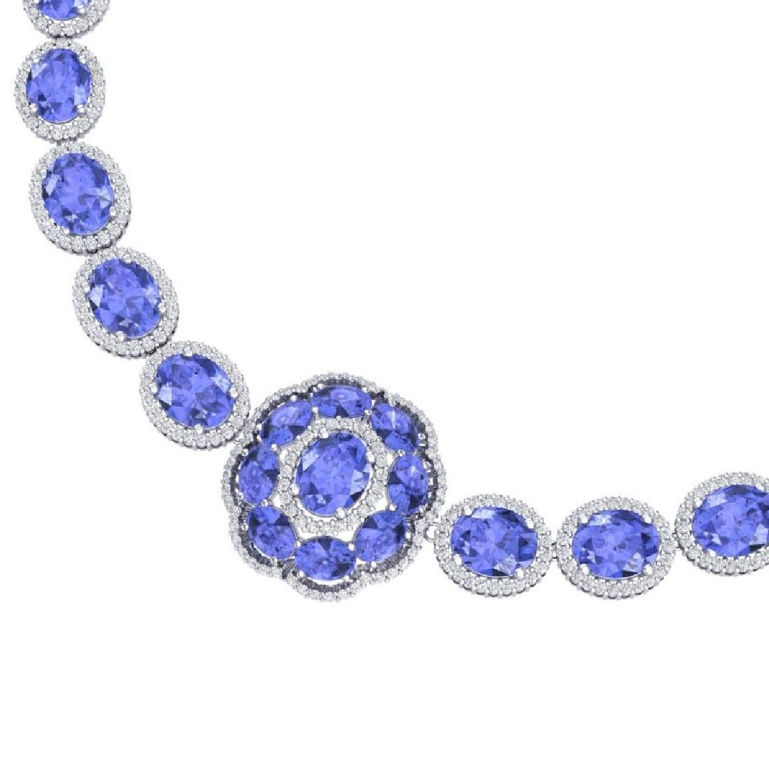 55.84 CTW Royalty Tanzanite & VS Diamond Necklace 18K