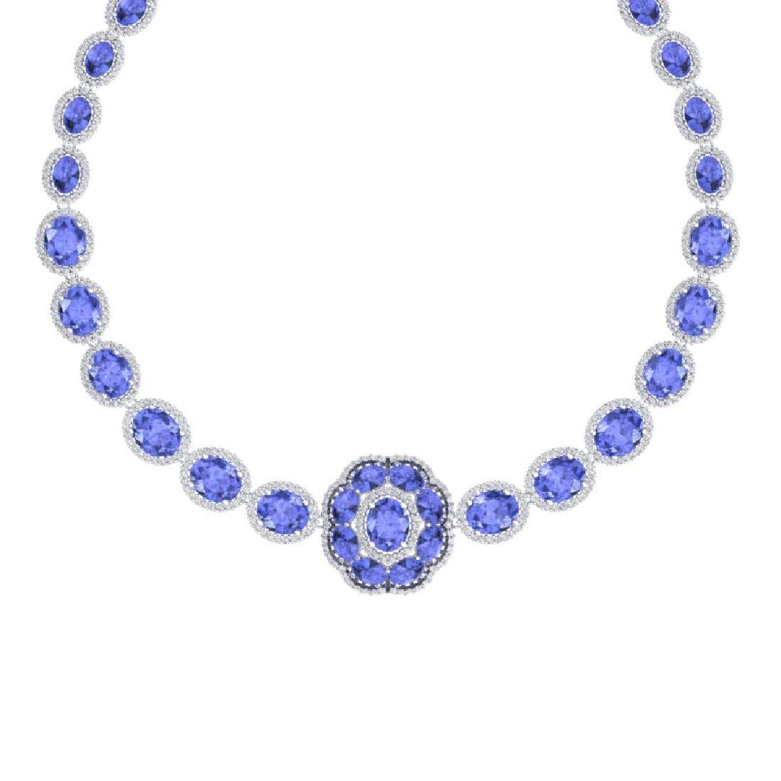 55.84 CTW Royalty Tanzanite & VS Diamond Necklace 18K - 2