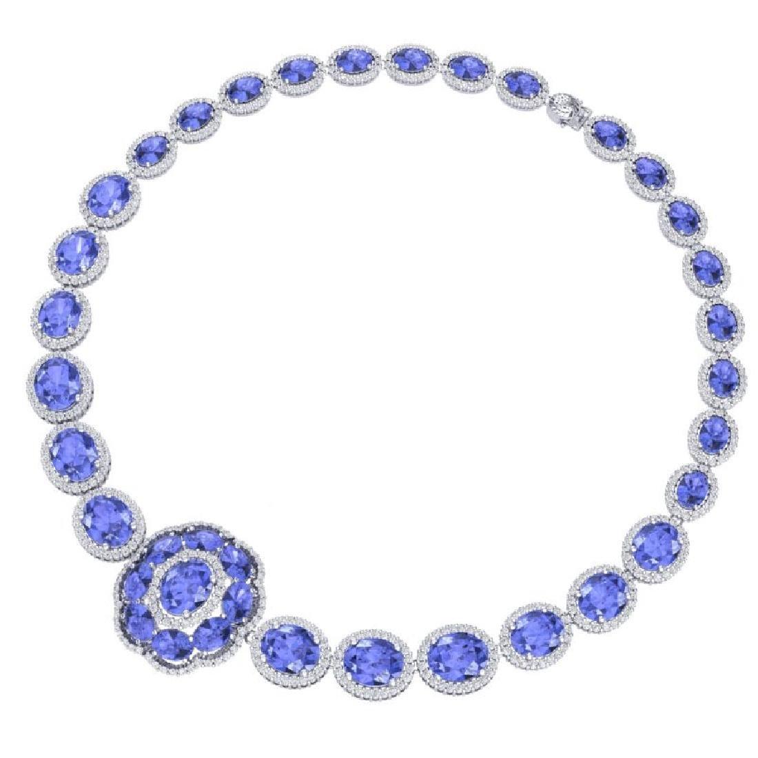 55.84 CTW Royalty Tanzanite & VS Diamond Necklace 18K - 3