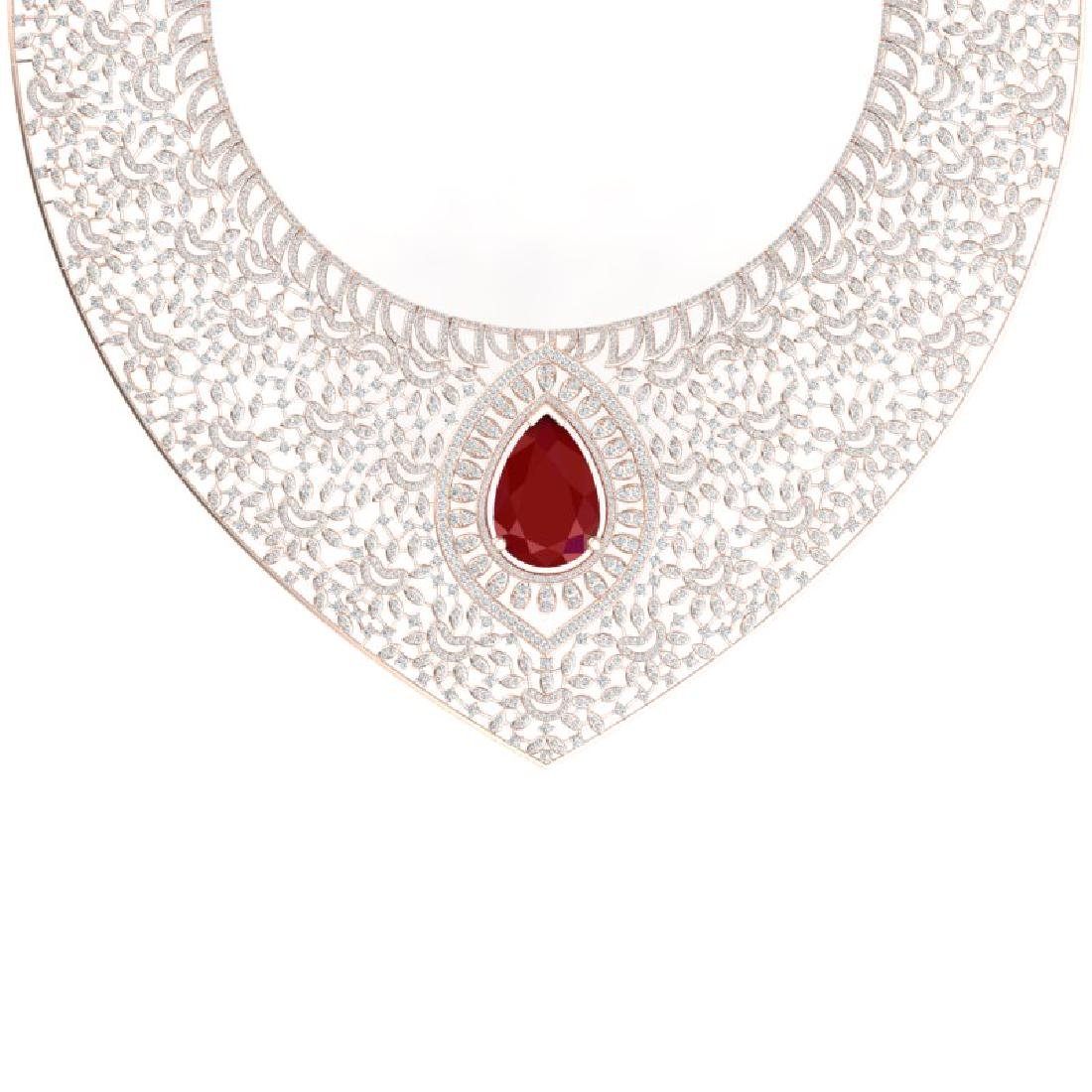 63.93 CTW Royalty Ruby & VS Diamond Necklace 18K Rose - 2