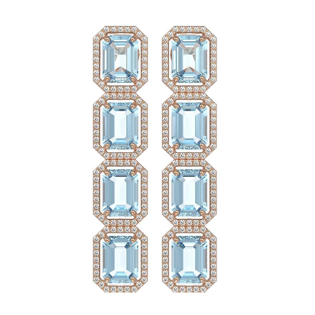 19.49 CTW Aquamarine & Diamond Halo Earrings 10K Rose