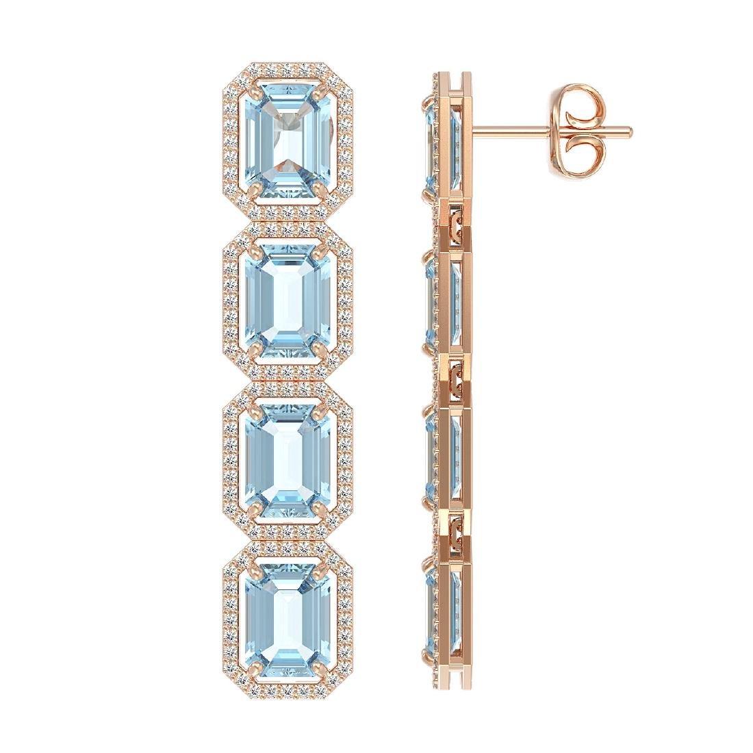 19.49 CTW Aquamarine & Diamond Halo Earrings 10K Rose - 2