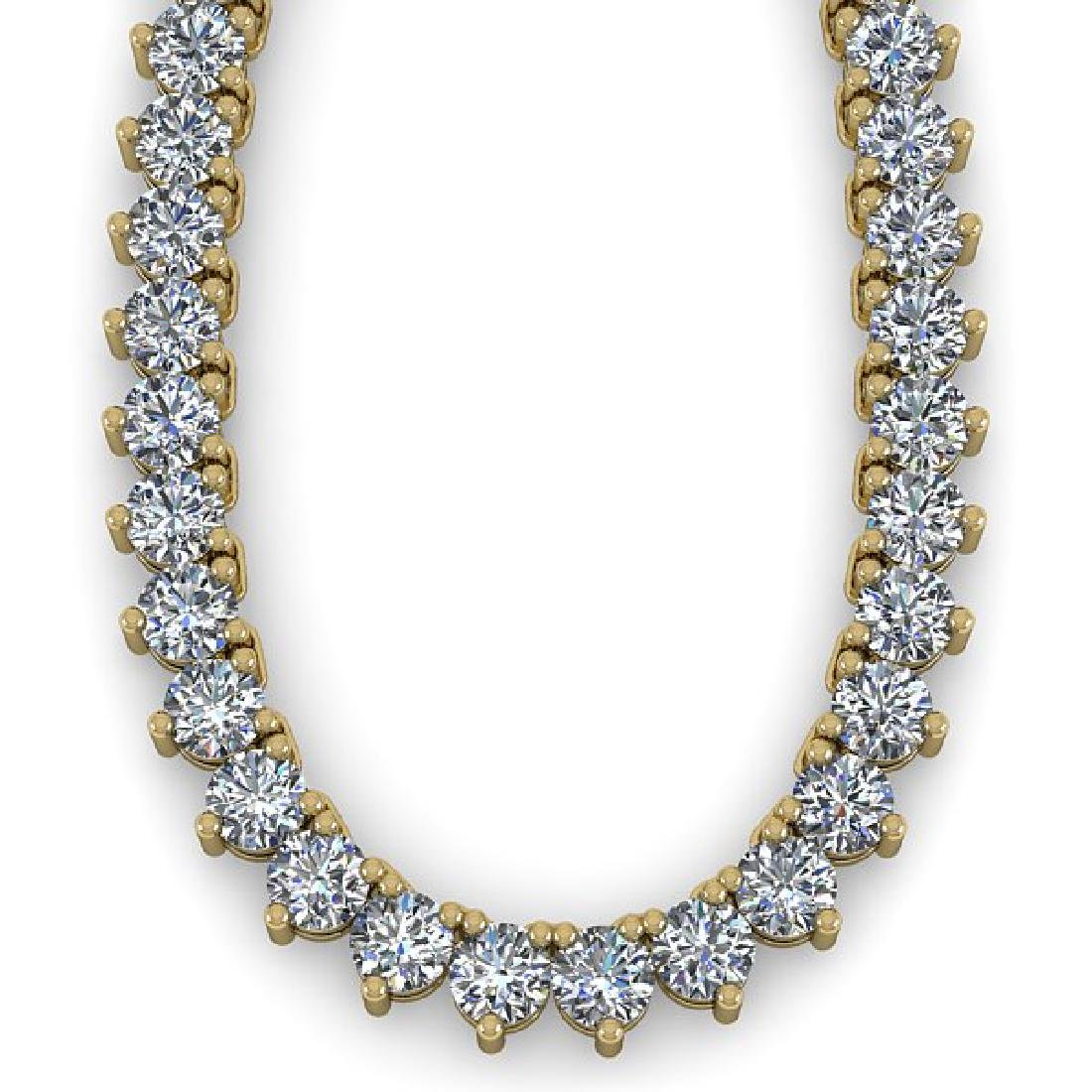 68 CTW Solitaire Certified SI Diamond Necklace 14K - 2