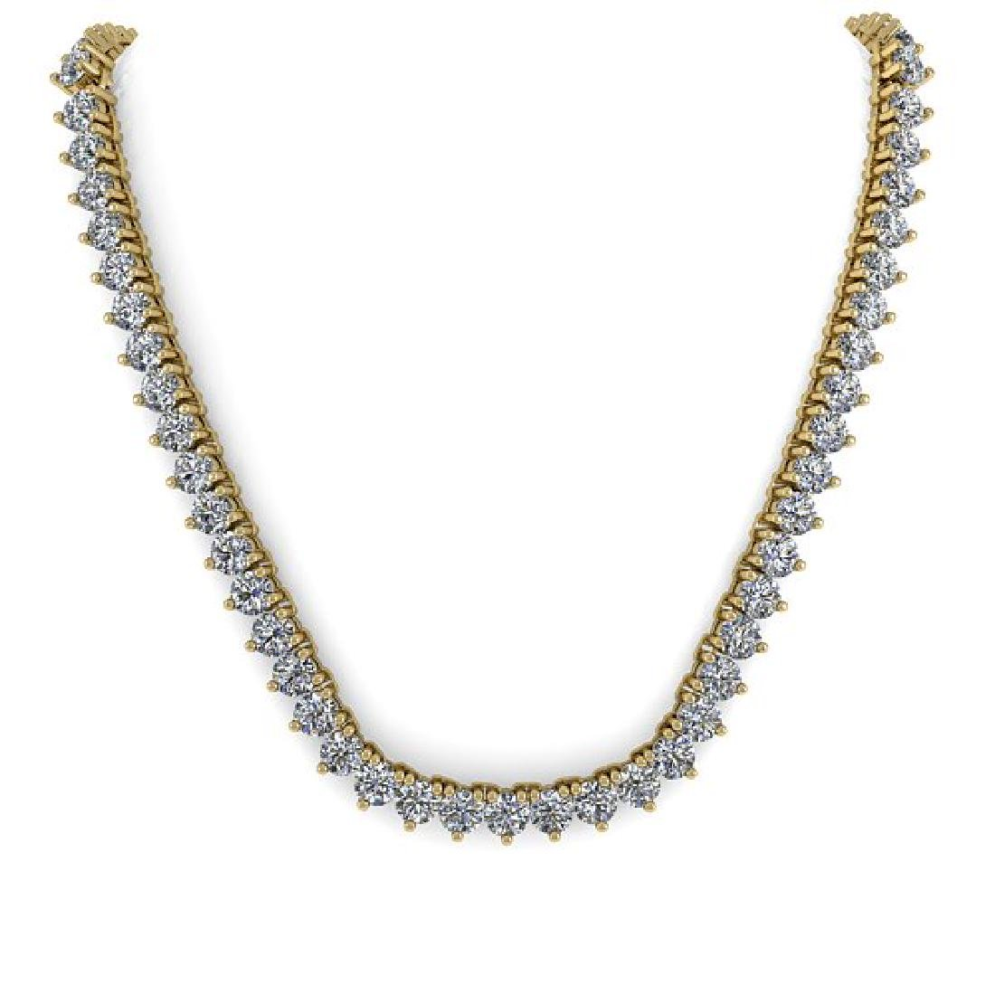 68 CTW Solitaire Certified SI Diamond Necklace 14K - 3