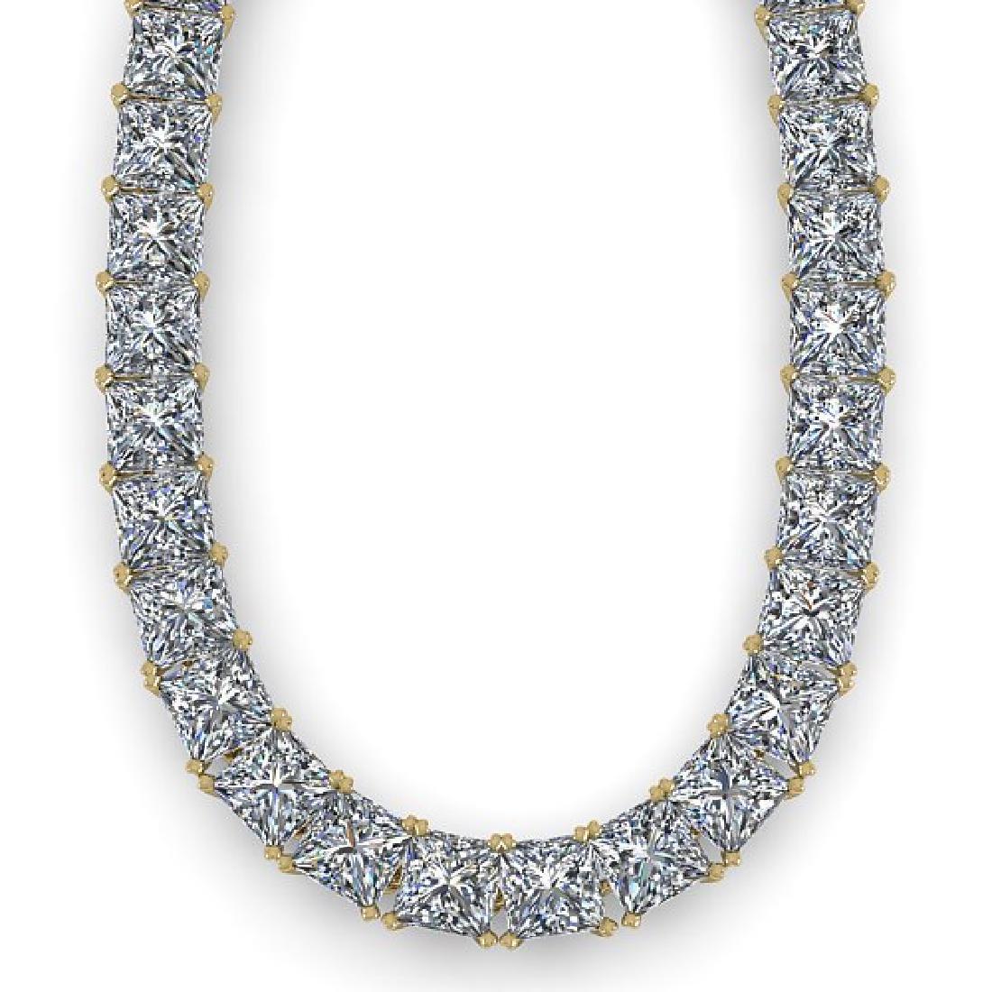 50 CTW Princess Certified SI Diamond Necklace 14K - 2