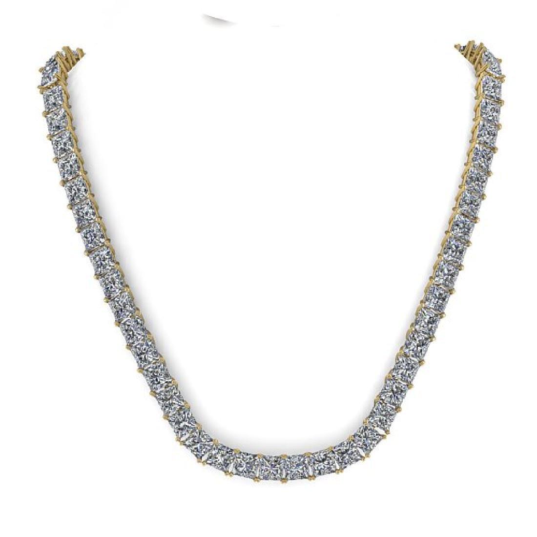 50 CTW Princess Certified SI Diamond Necklace 14K - 3
