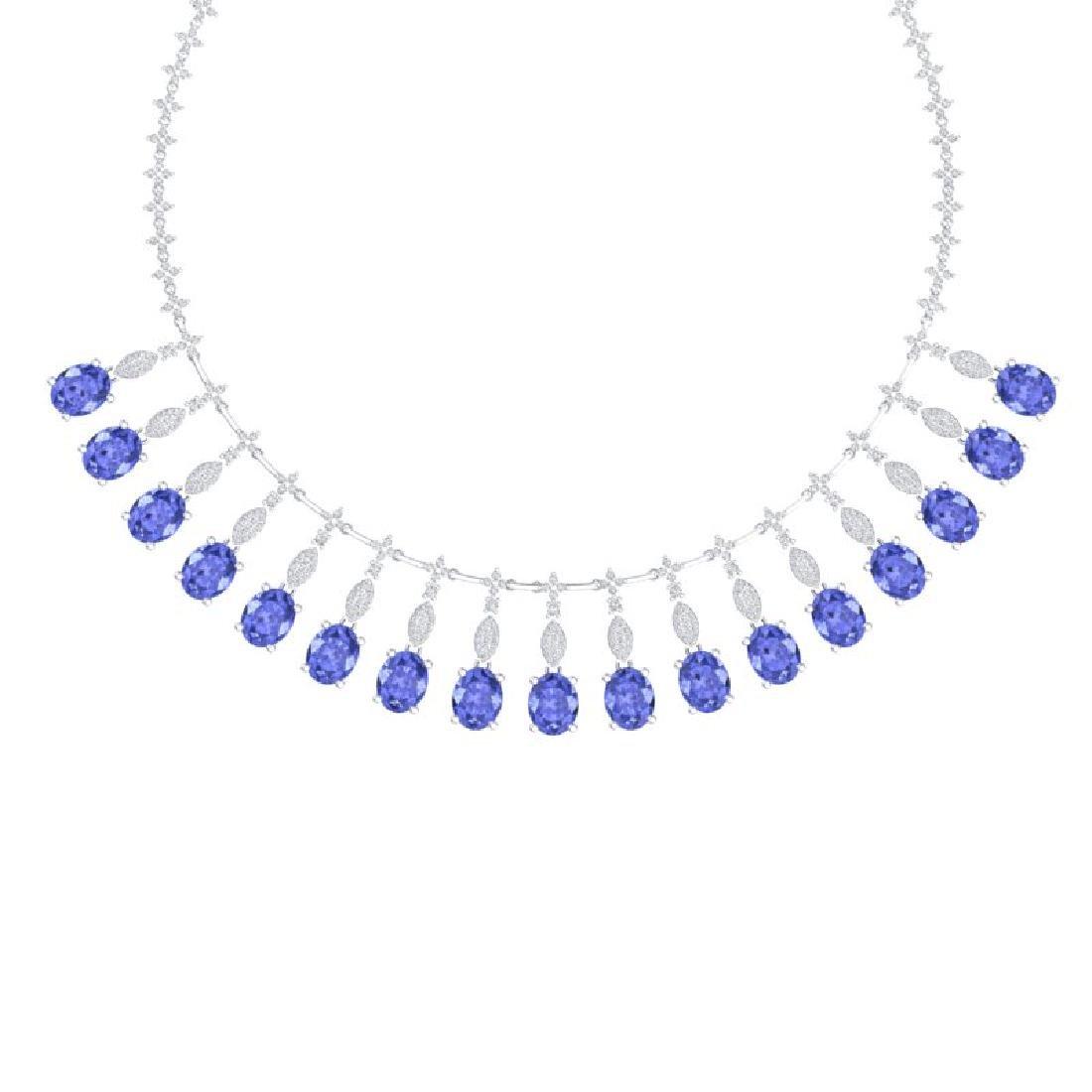 57.15 CTW Royalty Tanzanite & VS Diamond Necklace 18K