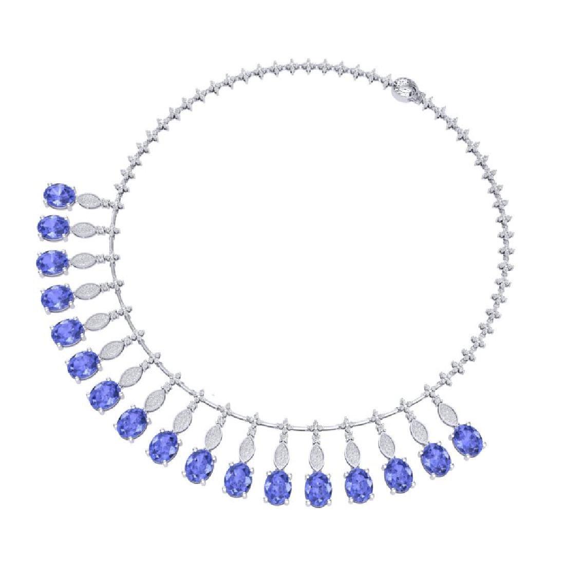 57.15 CTW Royalty Tanzanite & VS Diamond Necklace 18K - 2