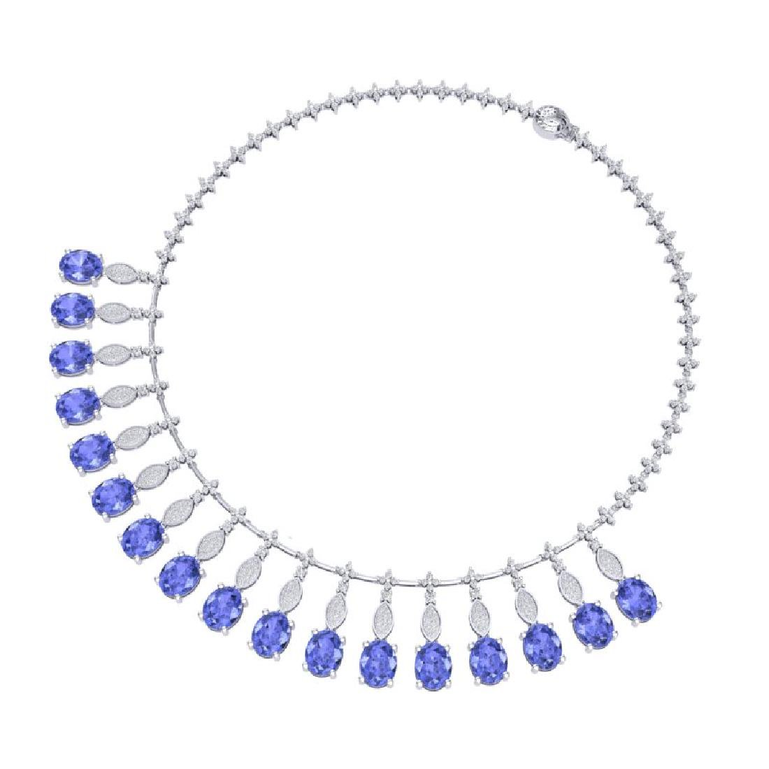 57.15 CTW Royalty Tanzanite & VS Diamond Necklace 18K - 2