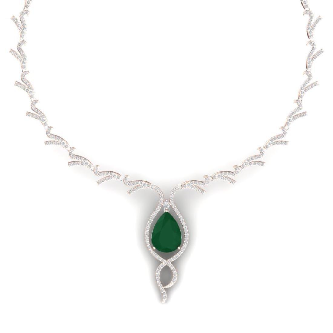 23.43 CTW Royalty Emerald & VS Diamond Necklace 18K