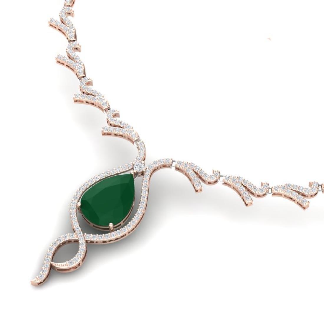 23.43 CTW Royalty Emerald & VS Diamond Necklace 18K - 2