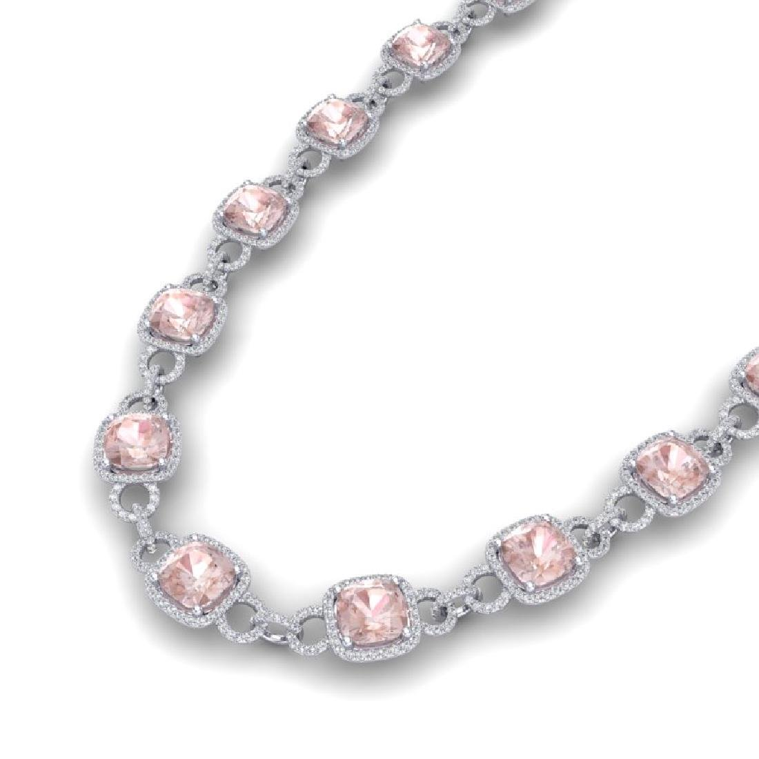 49 CTW Morganite & VS/SI Diamond Necklace 14K White