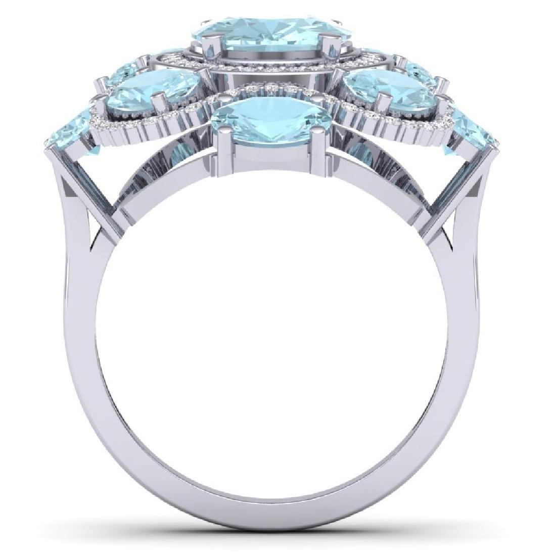9.26 CTW Royalty Sky Topaz & VS Diamond Ring 18K White - 3