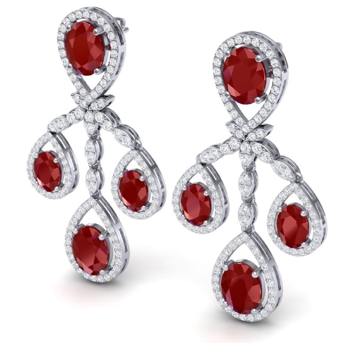 25.08 CTW Royalty Designer Ruby & VS Diamond Earrings - 2