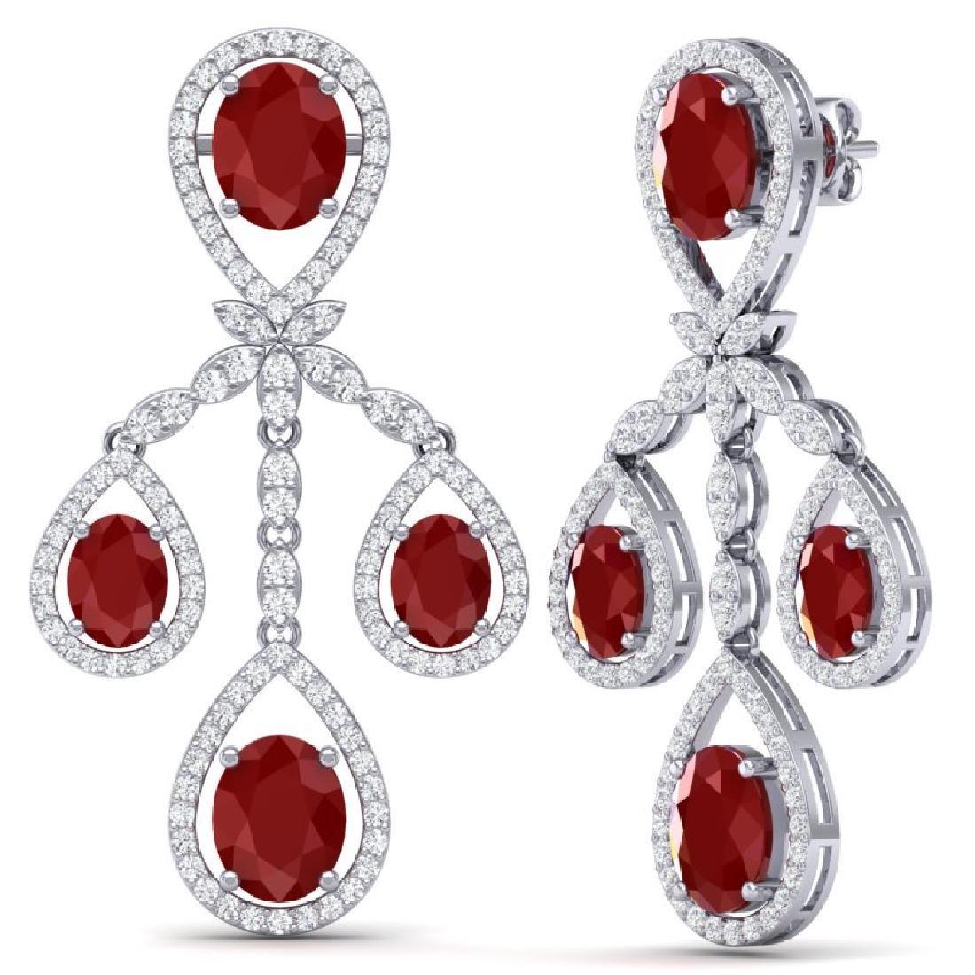 25.08 CTW Royalty Designer Ruby & VS Diamond Earrings - 3