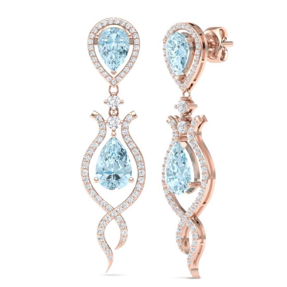 16.57 CTW Royalty Sky Topaz & VS Diamond Earrings 18K - 3