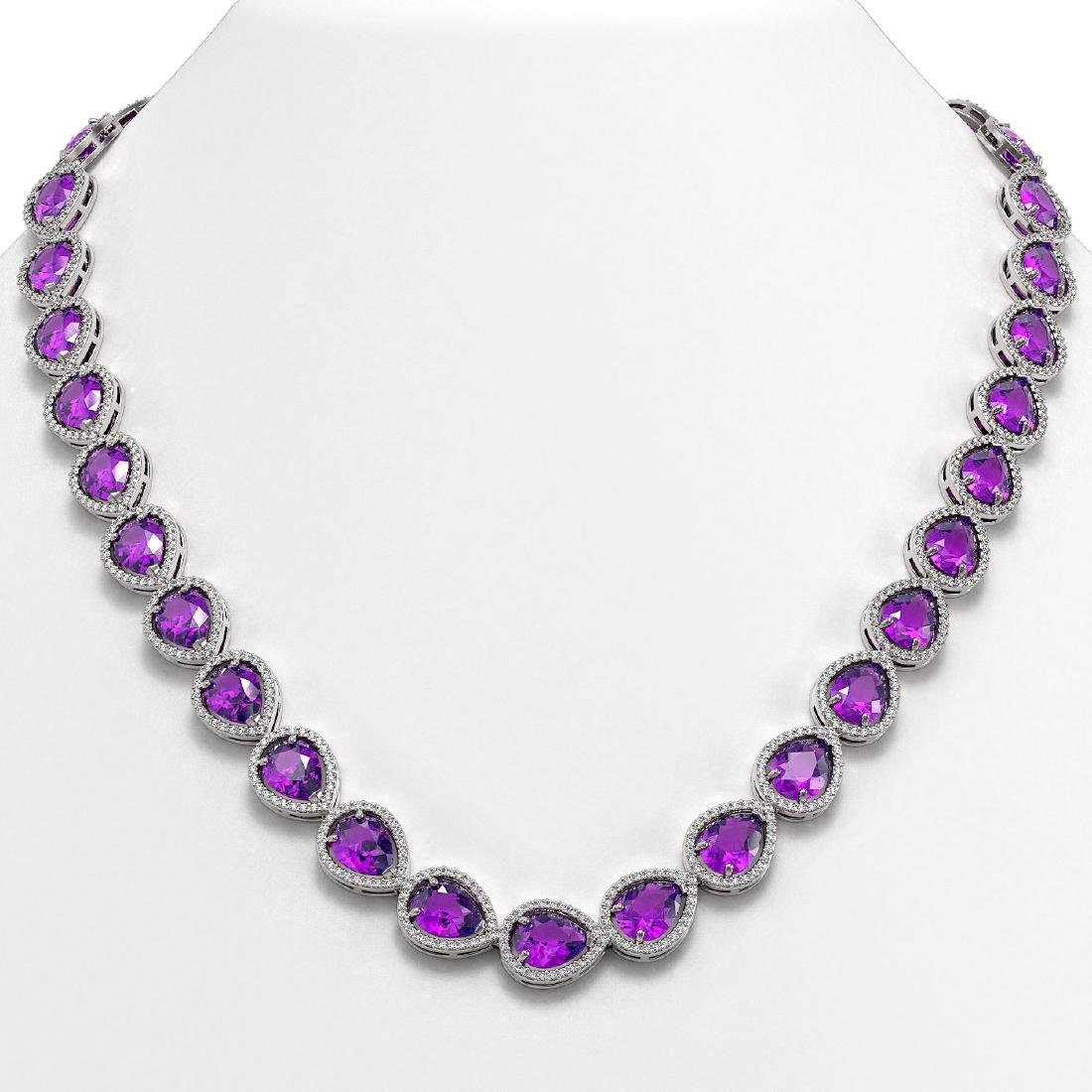 43.2 CTW Amethyst & Diamond Halo Necklace 10K White