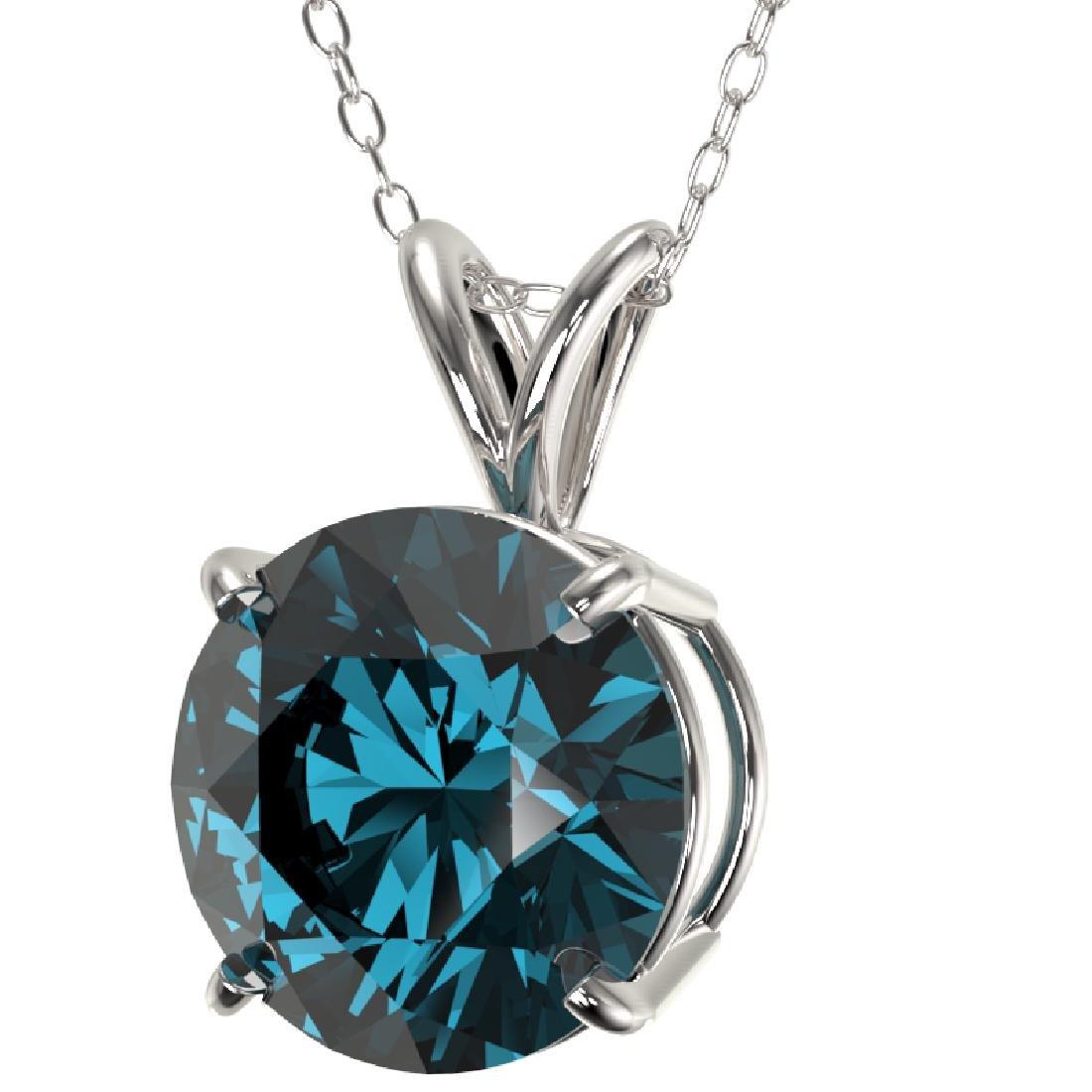 2.50 CTW Certified Fancy Blue SI Diamond Necklace 10K