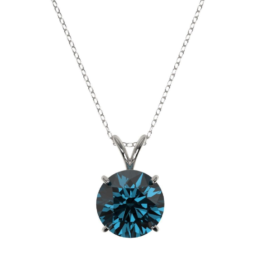 2.50 CTW Certified Fancy Blue SI Diamond Necklace 10K - 2