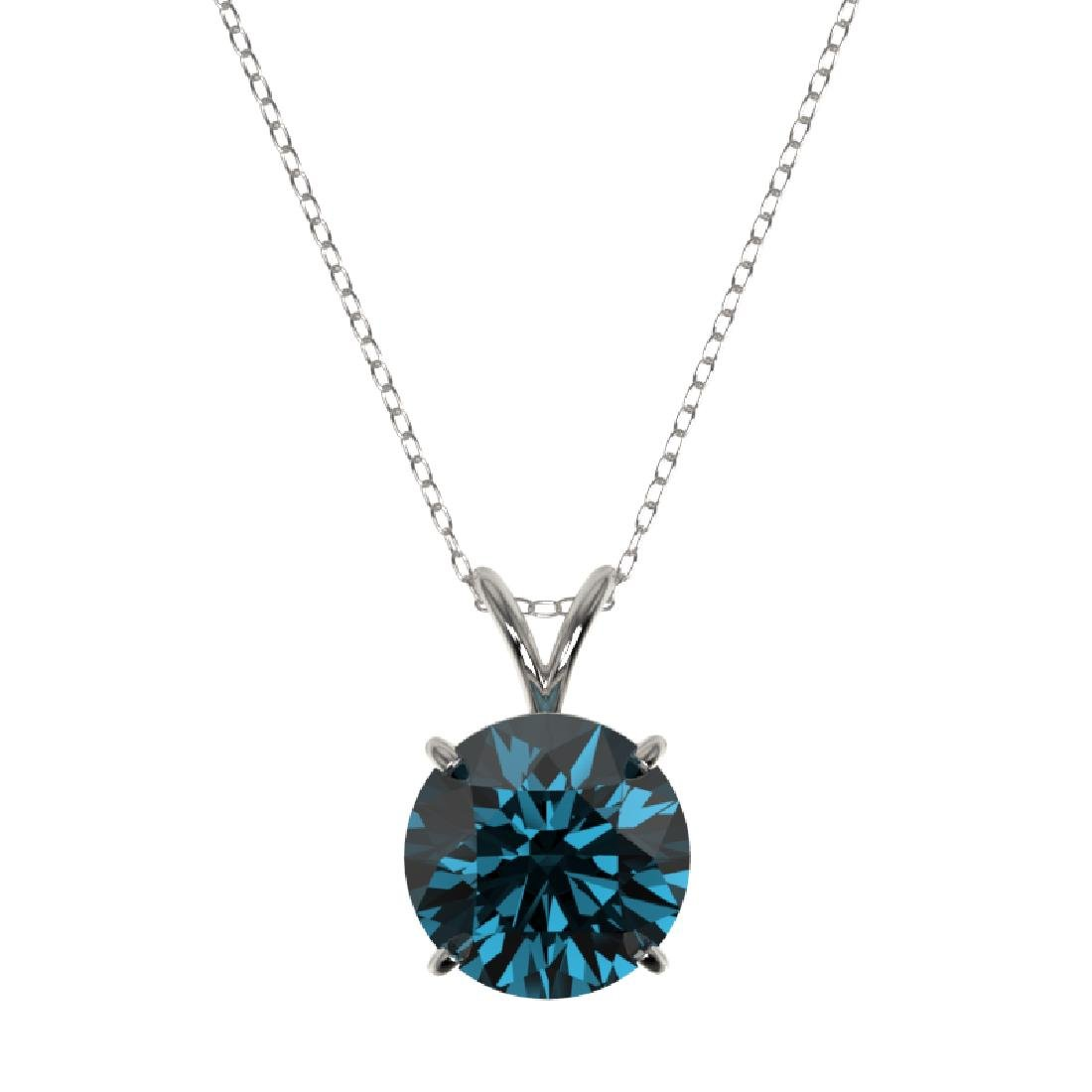 2.50 CTW Certified Fancy Blue SI Diamond Necklace 10K - 2
