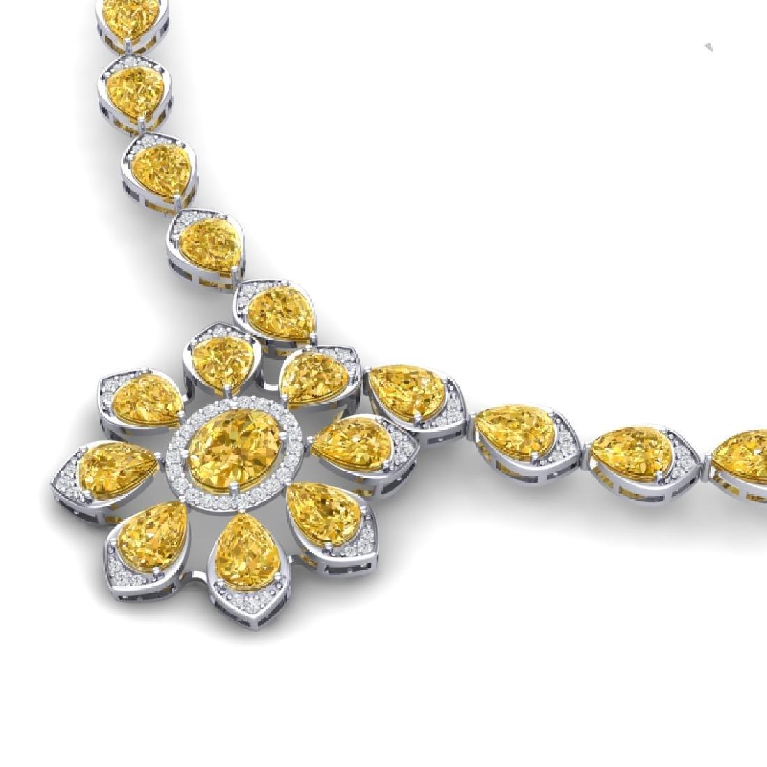 28.51 CTW Royalty Canary Citrine & VS Diamond Necklace - 2