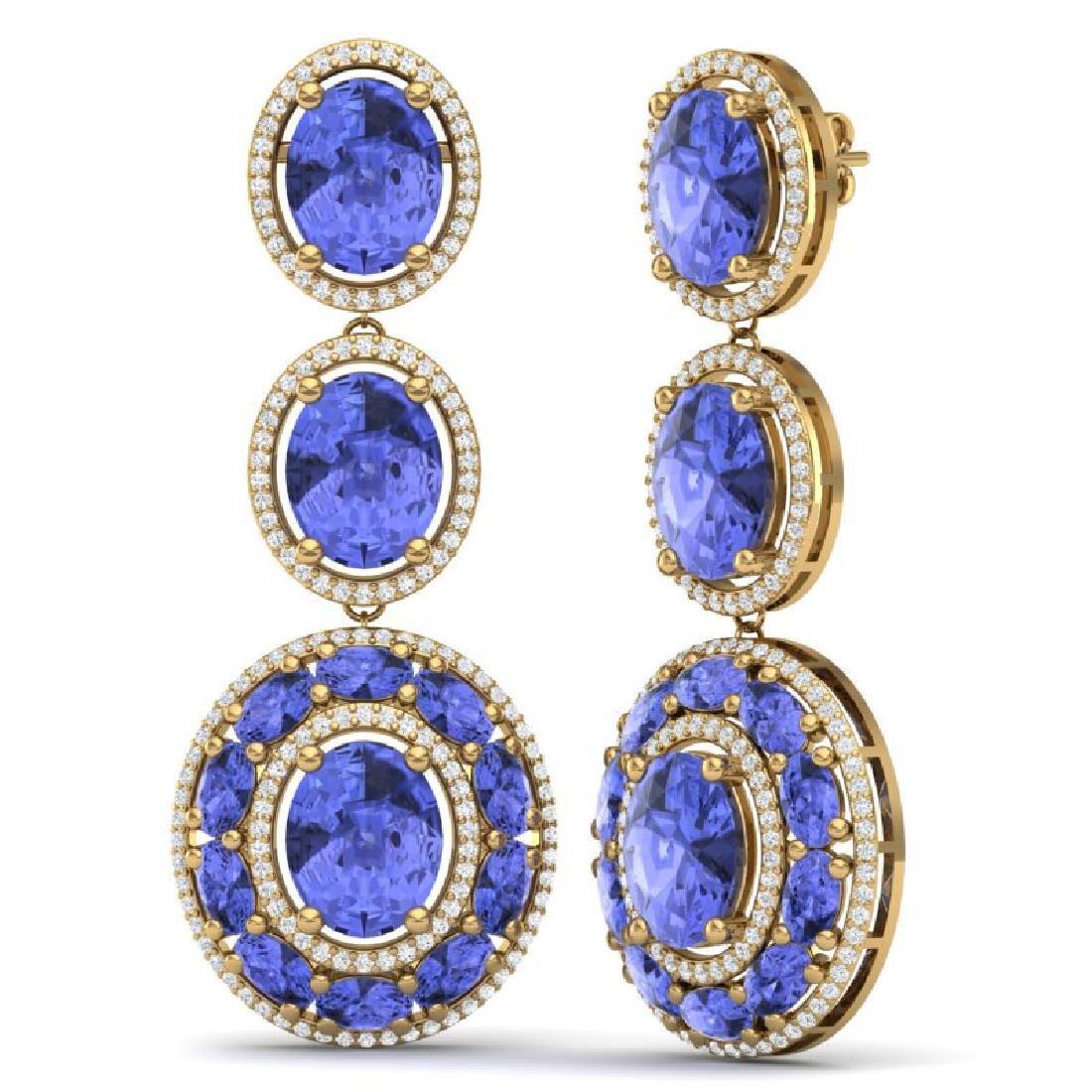 33.72 CTW Royalty Tanzanite & VS Diamond Earrings 18K - 3