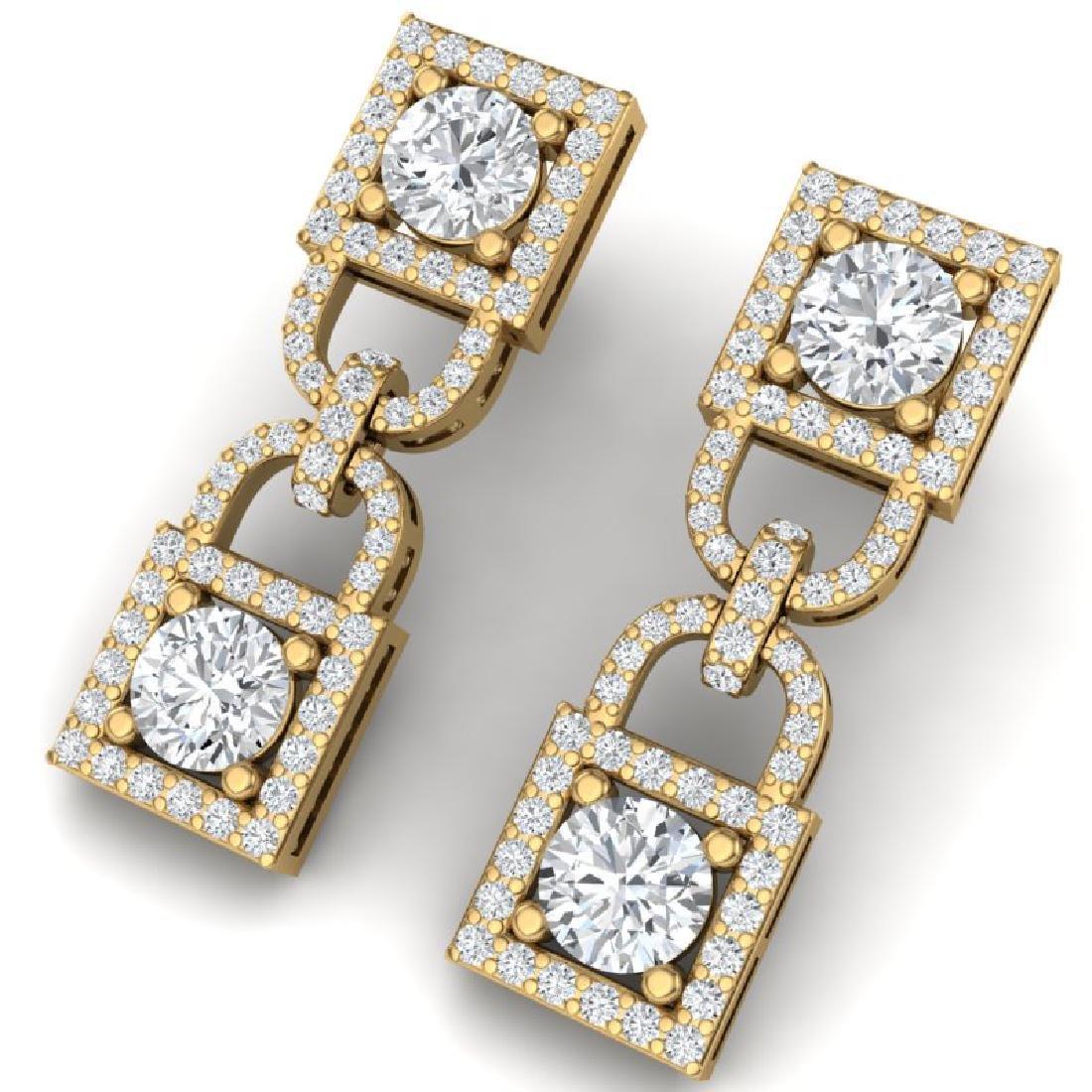 4 CTW Certified SI/I Diamond Halo Earrings 18K Yellow