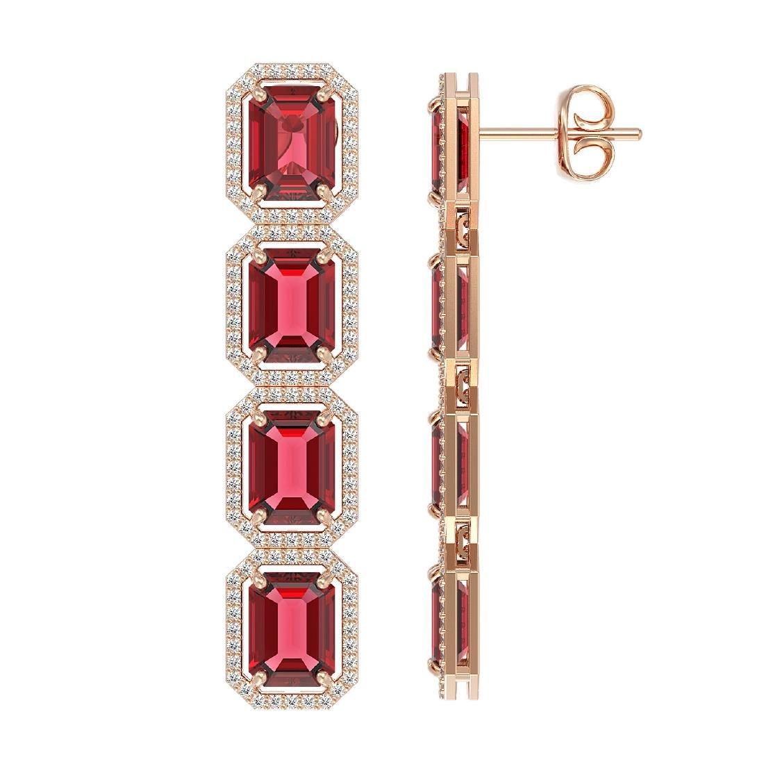 19.44 CTW Tourmaline & Diamond Halo Earrings 10K Rose - 2