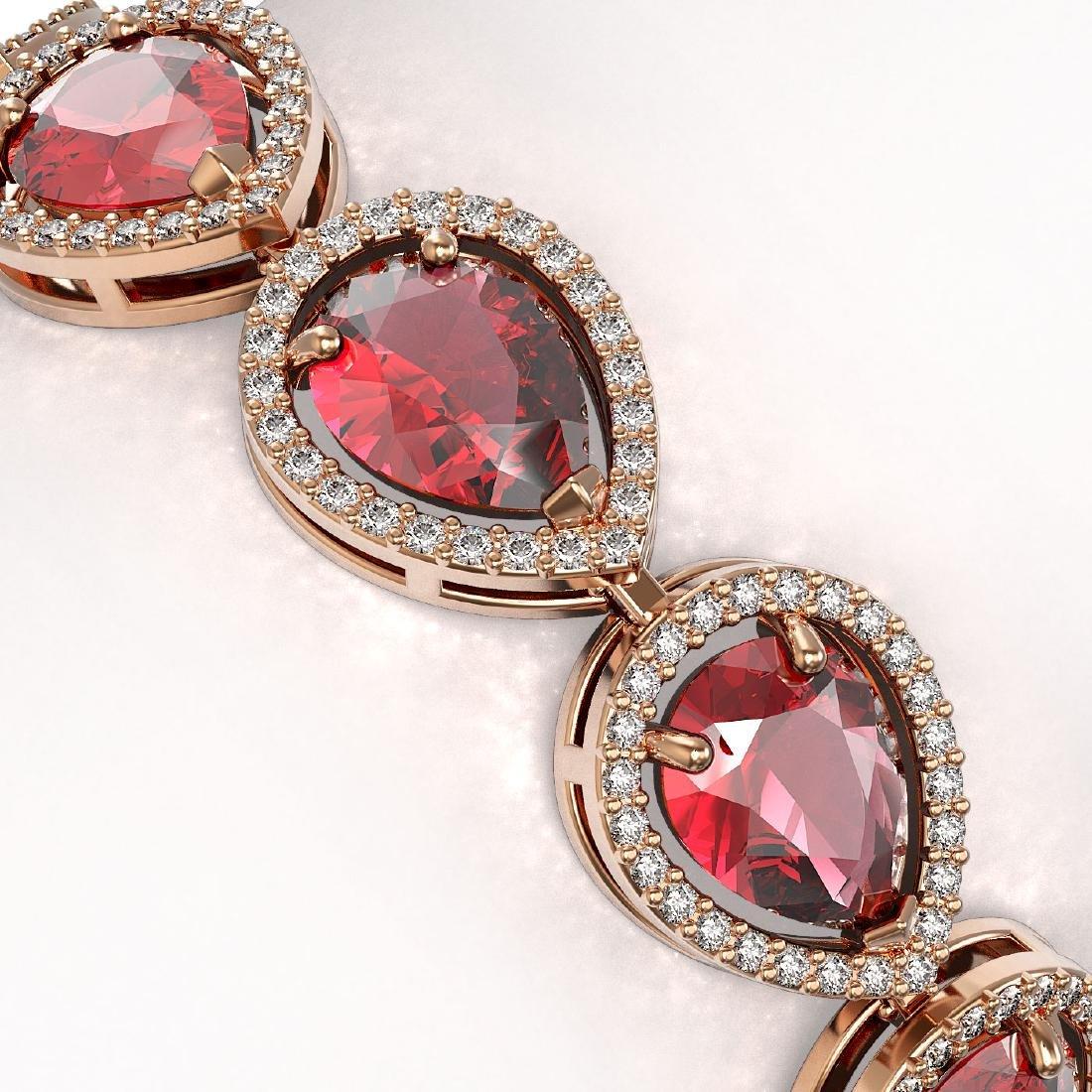 19.7 CTW Tourmaline & Diamond Halo Bracelet 10K Rose - 2