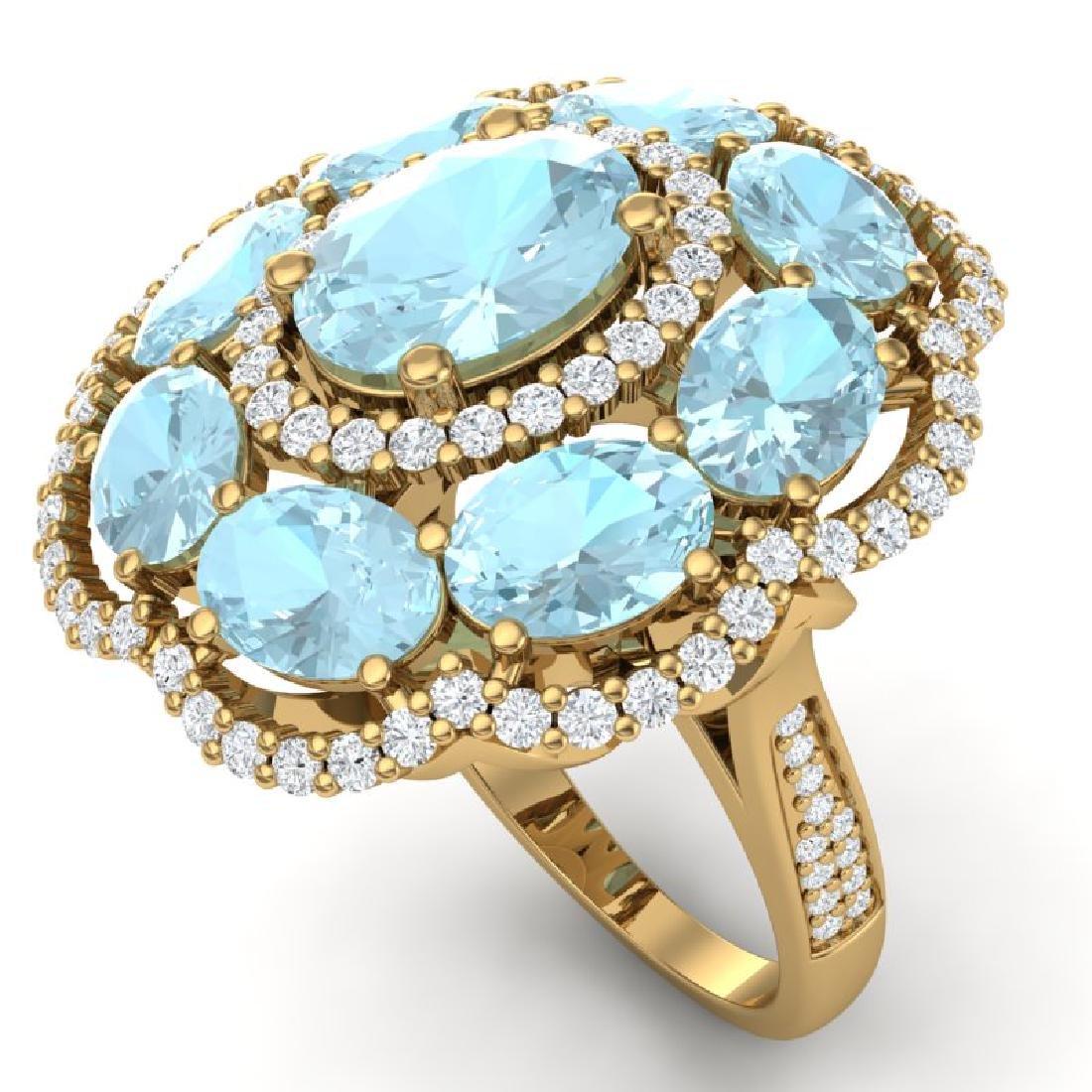 14.89 CTW Royalty Sky Topaz & VS Diamond Ring 18K
