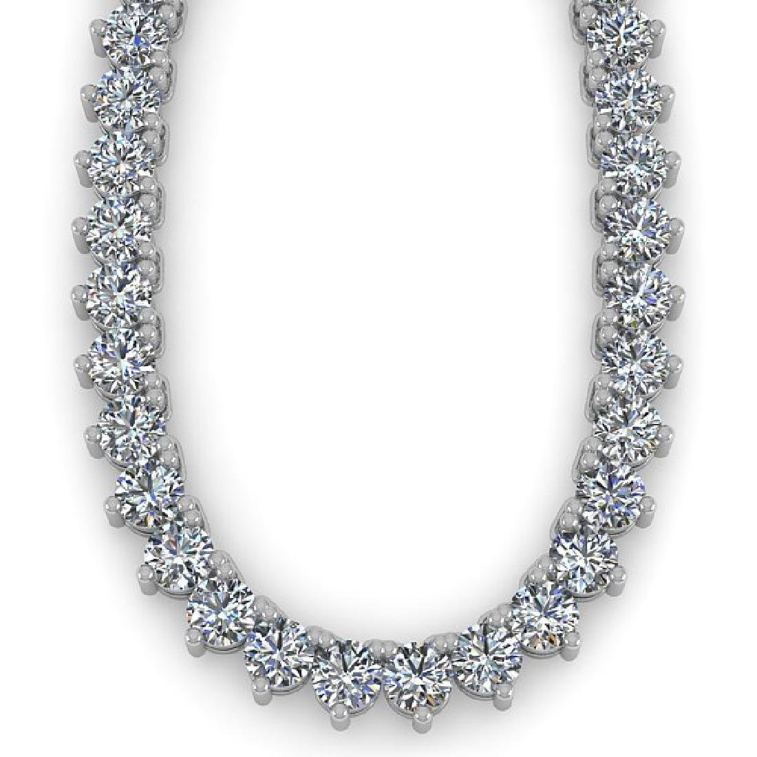 25 CTW Solitaire VS/SI Diamond Necklace 18K White Gold - 2