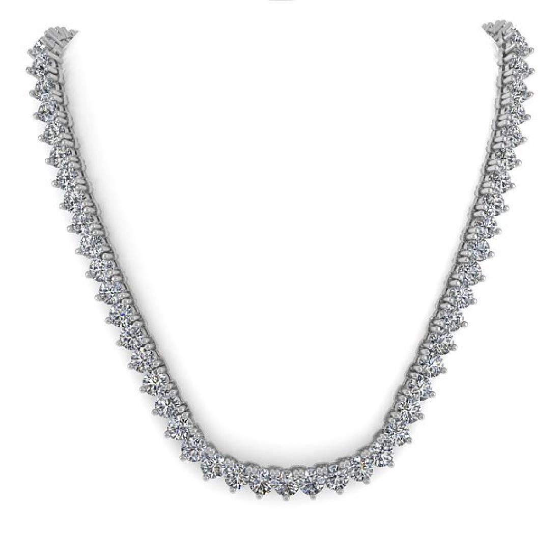 25 CTW Solitaire VS/SI Diamond Necklace 18K White Gold - 3