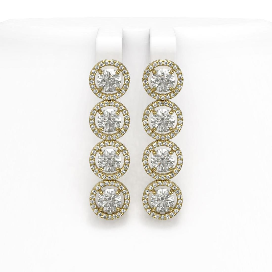 6.14 CTW Diamond Designer Earrings 18K Yellow Gold