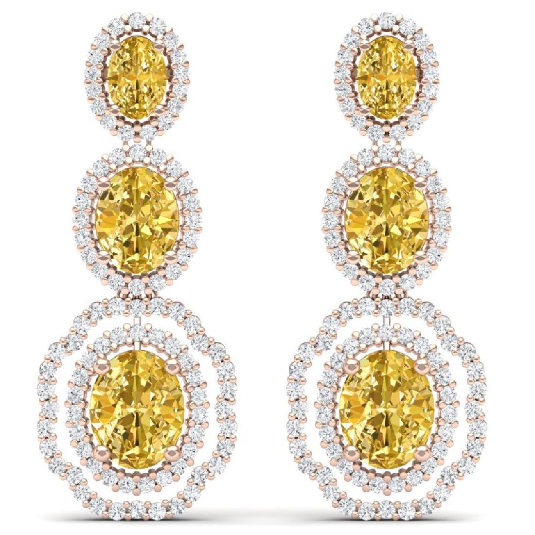 15.65 CTW Royalty Canary Citrine & VS Diamond Earrings
