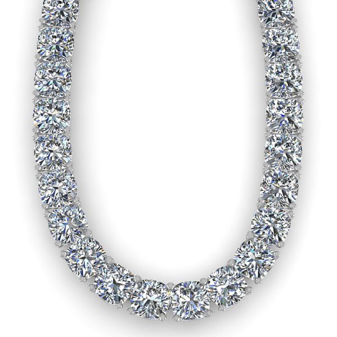 40 CTW Cushion Cut Certified SI Diamond Necklace 14K - 2
